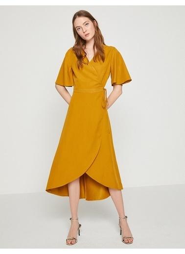 Kısa Kollu Midi Anvelop Elbise-Koton